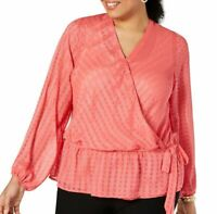 $79 INC International Concepts Plus Size 1X Faux-Wrap Ruched Top Blouse Pink