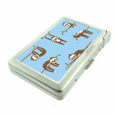 Cute Sloth Images D4 Cigarette Case with Built in Lighter Metal Wallet