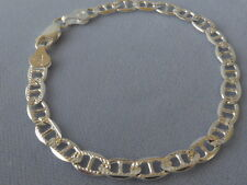 "10"" MARINA ITALIAN STERLING SILVER 925 ANKLE BRACELET-6mm-FACETED-PAVE/POLISHED"