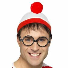Where's Wally Adults Instant Costume Kit Book Character Fancy Dress Hat Glasses