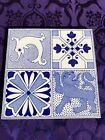 LOVELY STYLISH ANTIQUE QUARTERED ARTS   CRAFTS TILE FEATURING SEAHORSE  LION  6