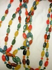 "VINTAGE 50"" MULTI COLOR ACRYLIC BEAD NECKLACE ORANGE GREEN YELLOW TAN"