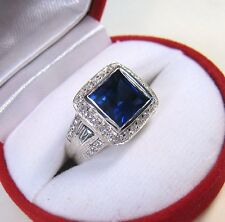 4.36 CTW BLUE & WHITE SAPPHIRE RING size 7 - WHITE GOLD over 925 STERLING SILVER