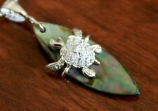 Hawaiian Jewelry 925 Sterling Silver TURTLE SURFBOARD Pendant Necklace SP27001