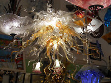 Blown Glass Chandelier - Lighting - Amber Clear Chandelier - Art Glass Lighting