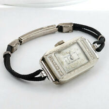 "1930s Art Deco14k White Gold  Lady's ElGIN 15 Jewel Dress Watch Fits 7"" Wrist"