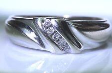 Men Natural Brilliant Round Diamond Wedding Band 10K White Gold Dome Comfort Fit