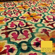 PINK MOROCCAN LATTICE Floral Digital Print Faux Raw Silk Fabric Dress Craft 1469