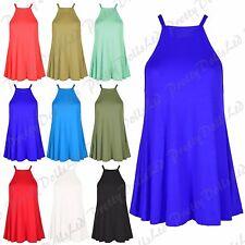 Ladies High Halter Neck Cami Vest Sleeveless Swing Camisole Women Tops Plus Size
