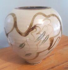 Studio Pottery Globular Vase Gum Leaves Impressed Mark 'W' 21cms Tall