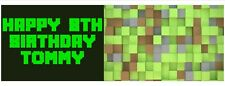 Pixel 1 3ft party personalised birthday banners - perfect for minecraft fans X2