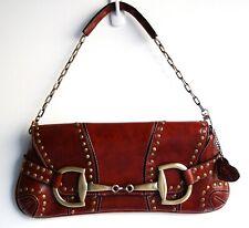 Rare Envelope Satchel Clutch Bag.Rina Rich Studded Burgundy Brown Handbag