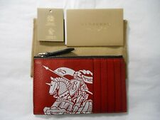 NWT Burberry $310 Men's Alwyn Logo-Print Zip-Top Leather Card Case,Red/Black