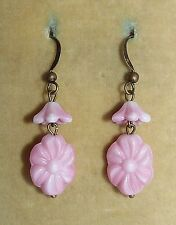 Vintage Art Deco pink pressed glass flower bead earrings - match old necklaces