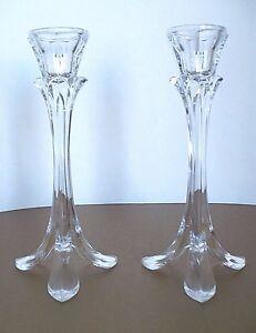Set of 2 Flower Steam Leaf Base Glass Crystal Candle Holders