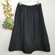 Krizia Made in Italy Black Satin Flare Skirt Size US 10 / EU 40 Blue Under Trim