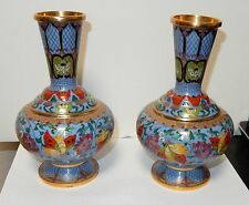 PAIR OF CHINESE CLOISONNE ENAMEL BUTTERFLY FLORAL VASES