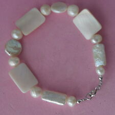 """Beautiful Bracelet With Bronz Pearl And M. O. P. 8"""" In. Long + 925 Silver Clasps"""