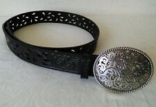 TONY LAMA Black Nicely tooled Western Belt with Silver Color Buckle Size 32