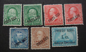Puerto Rico MH mint opt on USA stamps including Documentary(Fiscal)