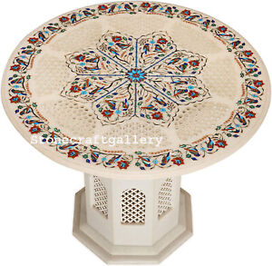 """24"""" Marble coffee Table Top Semi Precious Stone Floral Inlay With Marble Stand"""