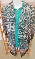 Angie Duster Kimono Cardigan Cape Southwest Aztec Fringed Open Front S EUC!