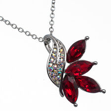 8.10 Ct Pear Cut Style Shape Red Garnet / Ruby CZ 18K White Gold Plated Pendant