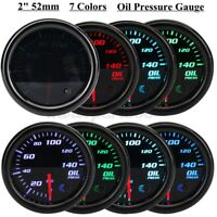 52mm 2'' 7 Colors Universal Oil Press Gauge Oil Pressure Meter LED PSI +  # +