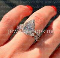 Halo Engagement Ring 3 ct Pear Bridal Set Real Moissanite 14k White Gold Finish