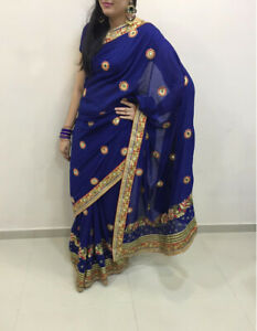 One Minute Saree Ready to Wear Pre Pleated Sari Indian Real Mirrors Sari Blouse