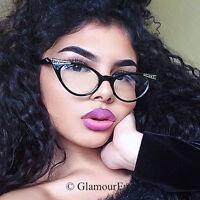 Slim Cat EYE Crystals Demi PinUp Rockabilly Eye Glasses Secretary Frames 1317