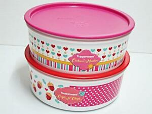 2 x Tupperware OTT One Touch Topper 1.75 Litres Cookie Canister With Prints