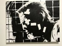 Marv Sin City Mickey Rourke hand painted signed fan art canvas portrait Comics