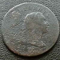 1796 Large Cent Liberty Cap Flowing Hair One Cent VG Details #20697
