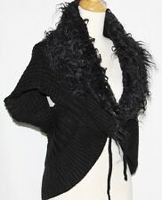 M Black BOHO Gothic Lolita Hippie Emo Rockabilly Sweater Shrug Faux Fur Top Vest