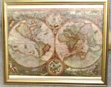 Double Hemisphere map of the world complete with frame - BD7