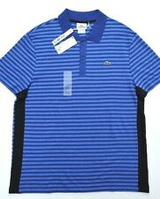 NWT Lacoste Mens Short Sleeve Slim Fit Striped Cotton & Linen Polo Shirt L Eur 6