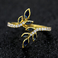 Sapphires & Diamonds Leaf Cocktail Ring 14kt Solid Yellow Gold Ring For Gift