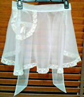 Vintage 50's Sheer Chiffon and Lace Edges Half Apron White/ Cream Color