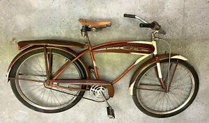 """Firestone """"Cruiser"""" vintage bike with gas tank, fenders, Musselman hub-brake"""