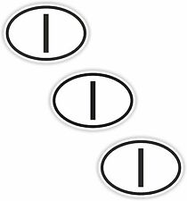 3x Black & White Oval Stickers Italy Small Country Code Phone Laptop Tablet