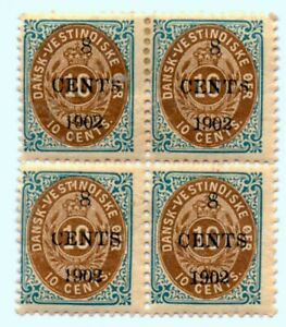 DWI SC 25  1902 8c on 10c Danish West Indies  Blue and Brown Block of 4 M H