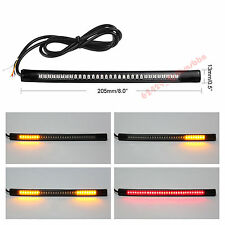 1x 48-SMD/LED Flexible Motorcycle Stop Turn Signal Strip Light Red/Amber For BMW