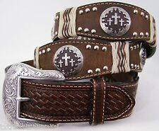 NOCONA belts western accessories raw hide cross concho BROWN LEATHER BELT 34 NWT