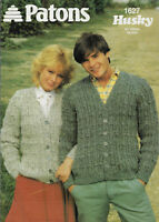 Men's & Women's Textured Cardigan Patons 1627 knitting pattern chunky yarn