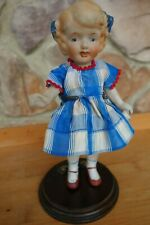 "Vintage Antique 7"" All Bisque Doll Japan Dress Molded Hair Bows Wired Arms Shoe"