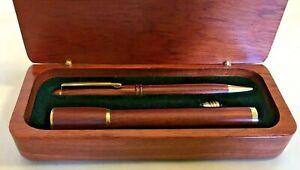 Eli Lilly Promotional Pen & Flashlight Set in Wooden Case
