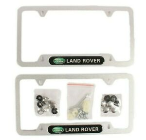 Land Rover License Plate Frames Set of 2 Silver Metal with Matching Bolts and Co