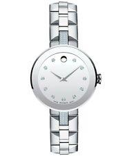 Movado Sapphire Silver Diamond Dial Ladies Watch 0606815