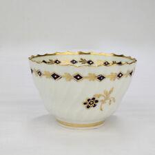 Antique 18C Flight Worcester Porcelain Ribbed Tea Bowl - English Cobalt Blue Pc